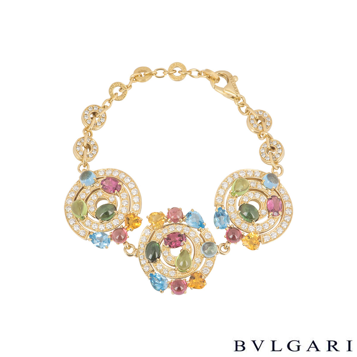 Bvlgari Yellow Gold Diamond And Multi-Gemstone Astrale Bracelet
